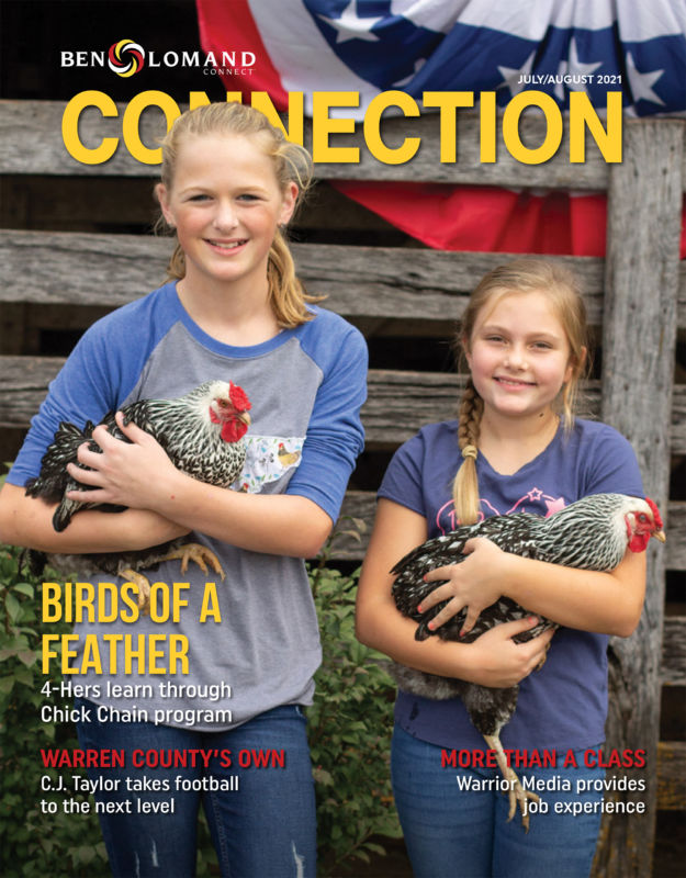 July August 2021 Ben Loman Connection magazine cover with two girls holding hens