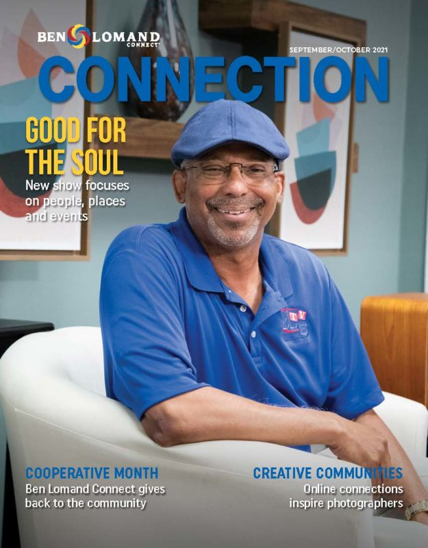 September/october 2021 Ben Lomand Connect Connection magazine cover with older black man sitting in chair smiling