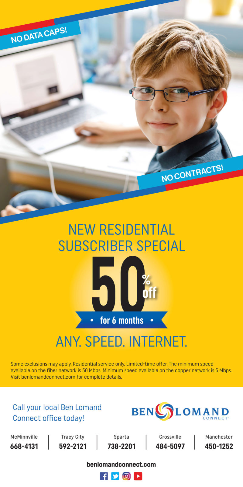 ad for new residential subscriber special for 50% off any speed internet