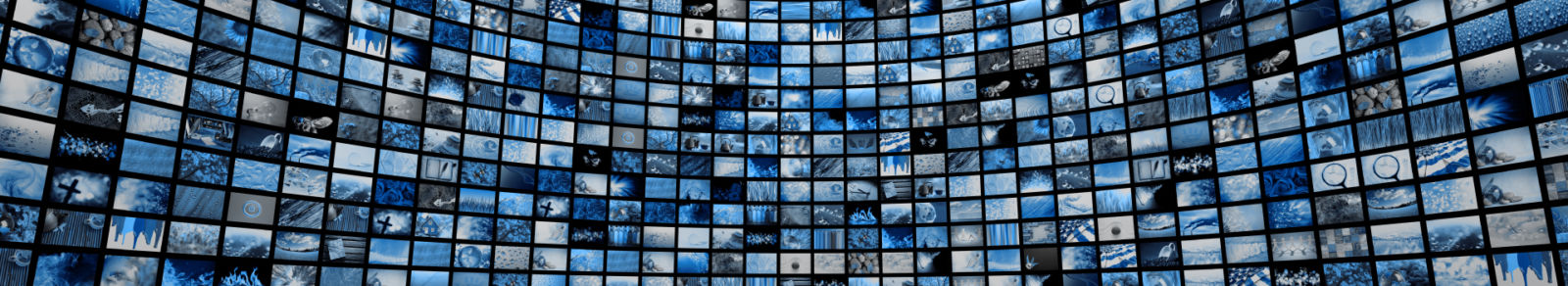 Zoom out giant wall of tv screens in blue